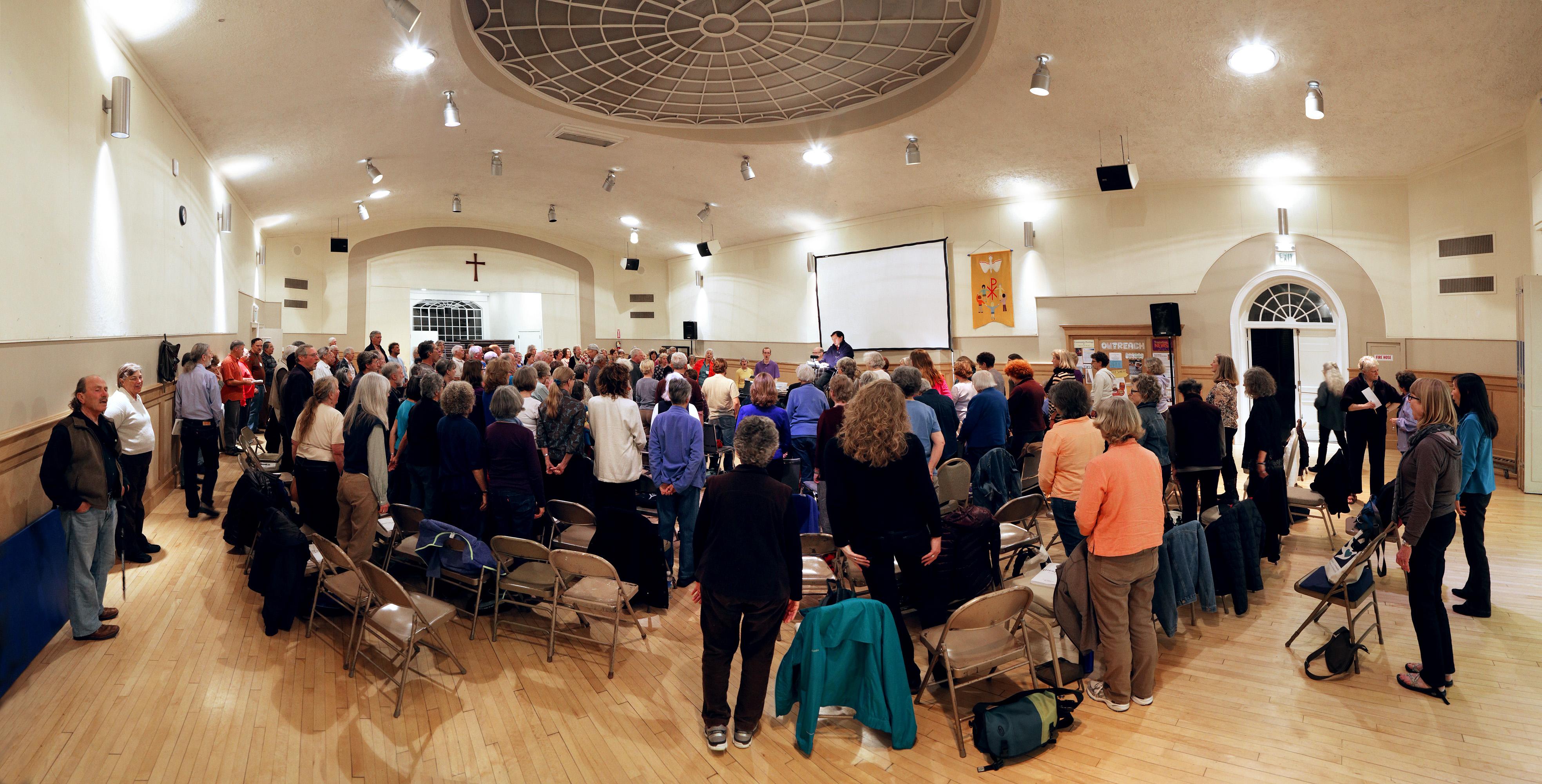 practicepanA Choir Practice,  First Congregational Church meeting room,  (burned 2016),  Berkeley, California, 2015
