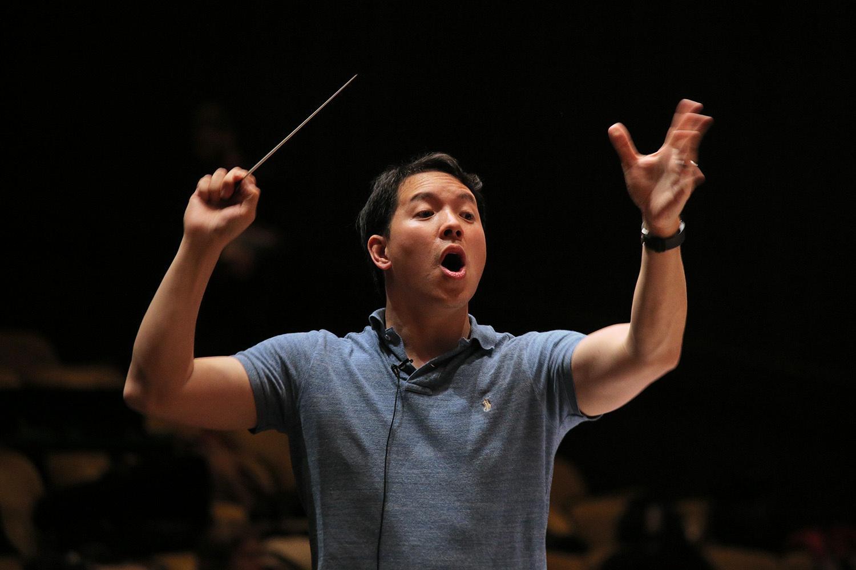 s16-mingpracticeC Ming Luke, Director ,  BCCO Spring Concert,  Hertz Hall,  Berkeley, California, 2016