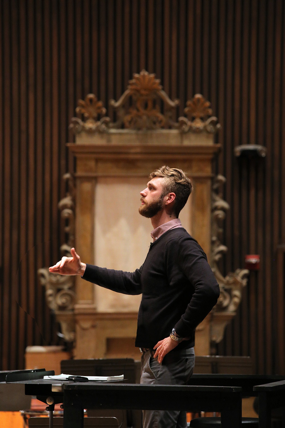 s17-ericA Eric Choate, Assistant Conductor,  BCCO Spring Concert,  Hertz Hall,  Berkeley, California, 2017