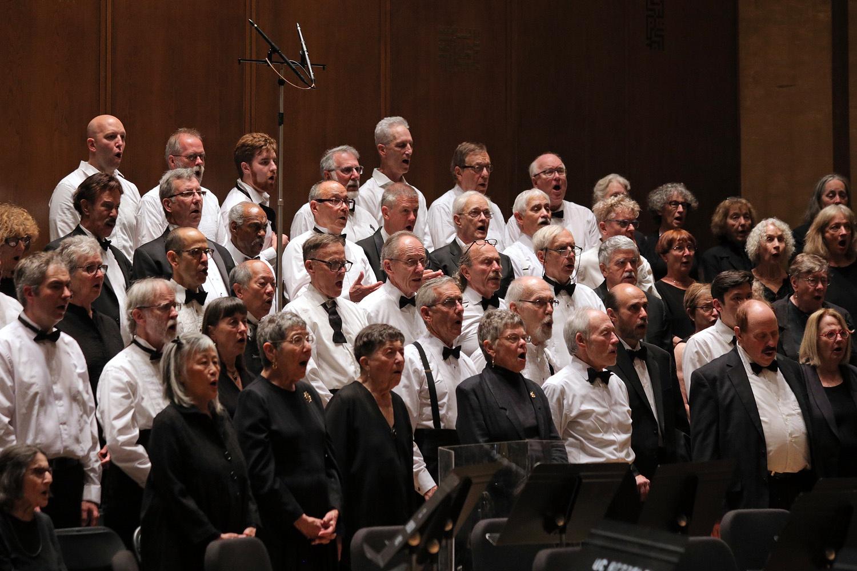 s17-singersB Chorus members,  BCCO Spring Concert,  Hertz Hall,  Berkeley, California, 2017