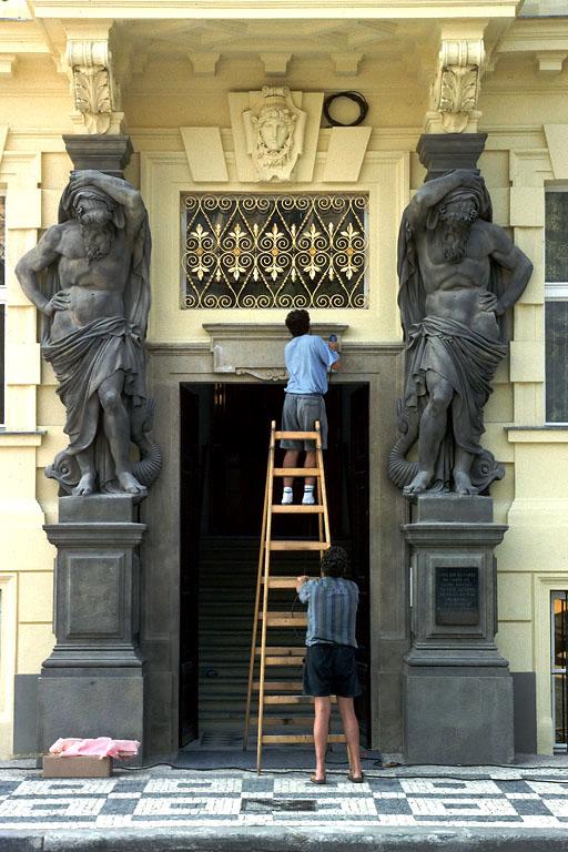 repairs Laborers, Prague, Czech Republic, 1995