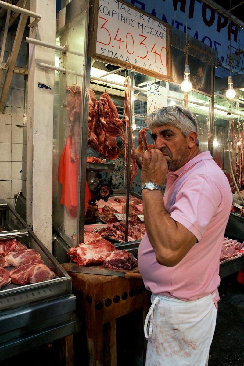 butcher Friendly Butcher,   Central Market,  Thessaloniki, Greece, 2010