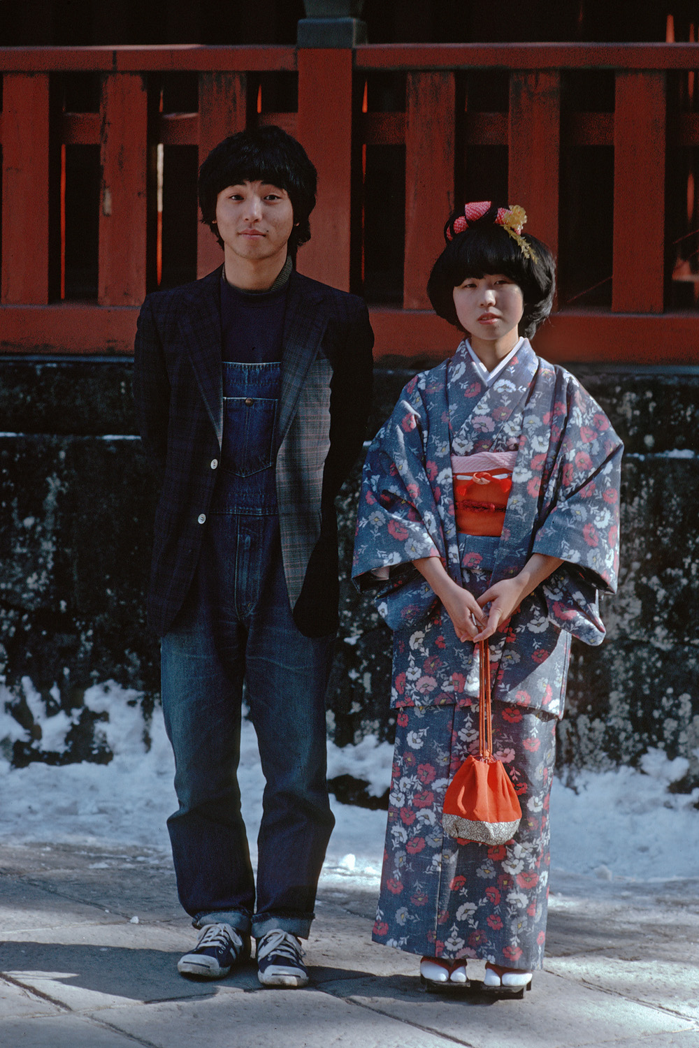 couple New Year, Nikko Toshogu Shrine, Japan, 1979