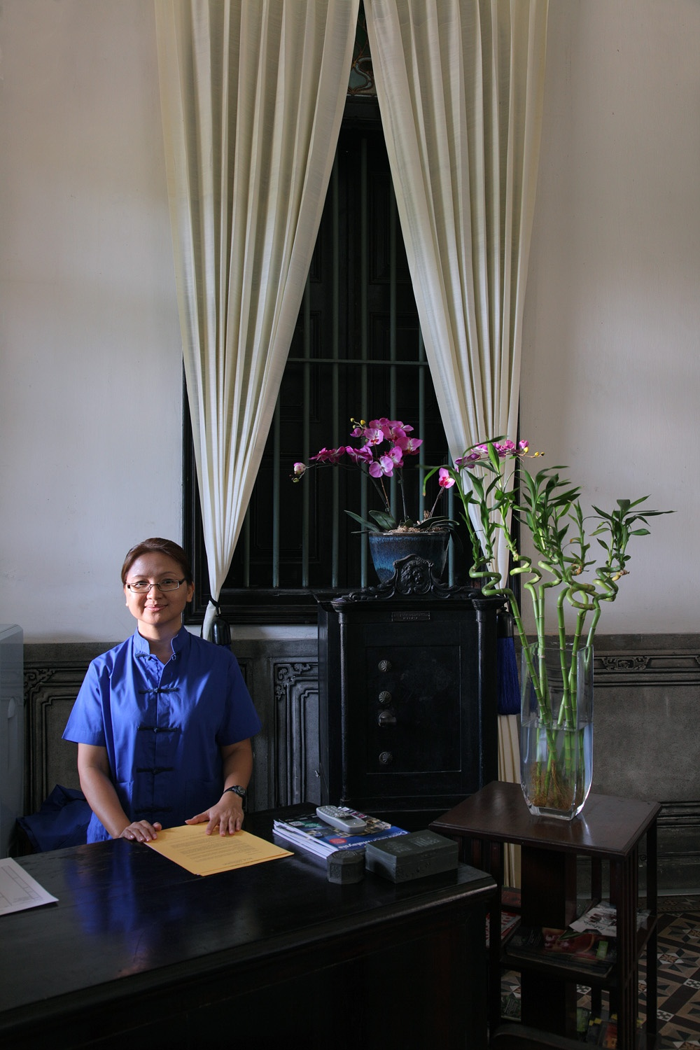 receptionist Blue Mansion,  Penang, Malaysia, 2014
