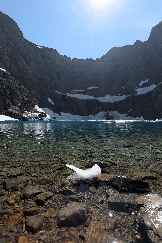 glacier-miniiceberg One of the last icebergs,  Iceberg Lake,  Glacier national Park,  Montana, 2017