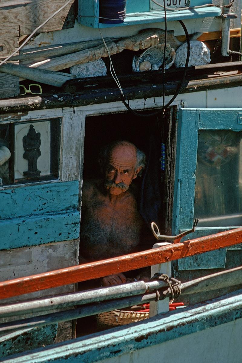 boatman Fisherman's Wharf, San Francisco, California, 1974
