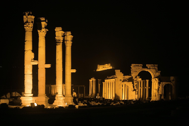 nightcolumns Arch of Triumph ,  (destroyed 2015),  Palmyra, Syria, 2008